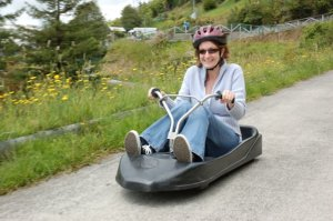 Trying out the luge in Rotorua